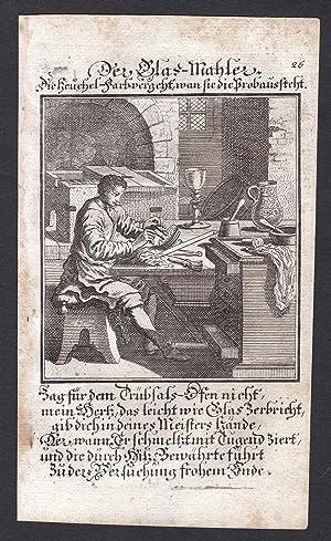 """Der Glas-Mahler"""" - Glasmaler Glas Maler Malerei Kupferstich Beruf antique print: Weigel, ..."""