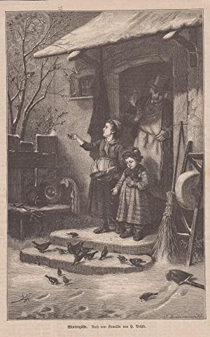 Orig. Holzstich: Wintergäste. Nach einem Gemälde von H. Bethke.