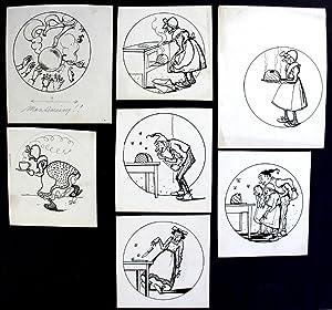 Kuchen Backen Karikatur Geschichte München signiert Original Zeichnung: Baumgarten, Eugen: