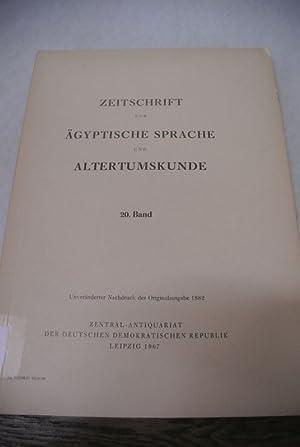 Zeitschrift für ägyptische Sprache und Altertumskunde. 20. Jg. (1882). Beispielaufsatz: Die ...