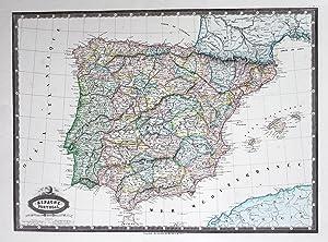 "Espagne et Portugal"" - Spain Espana Spanien Portugal map Karte mapa Stahlstich antique print: ..."