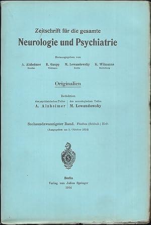 Zeitschrift für die gesamte Neurologie und Psychiatrie. Originalien. 26.Band - Hefte 1-5 [in 5 ...