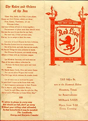 Red Lion Restaurant Pub Menu, Circa Early 1960s, Houston, Texas