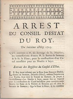 Arrêt du Conseil d'Etat du Roi, du: SIgné Phelipeaux