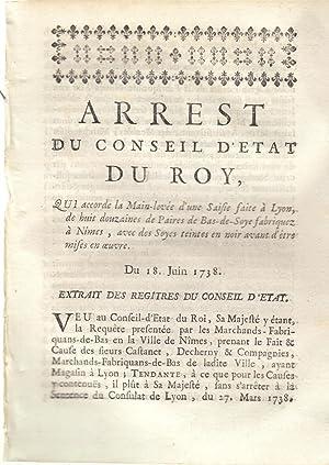Arrêt du conseil d'état du Roi qui: Signé Phelypeaux.