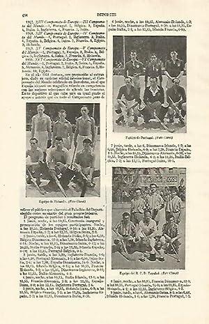 LAMINA ESPASA 26732: Equipo de hockey de: Varios