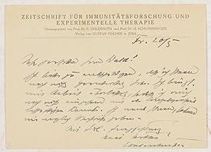 ACS - Eigenhändige Postkarte mit Unterschrift.: Uhlenhuth, Paul Theodor