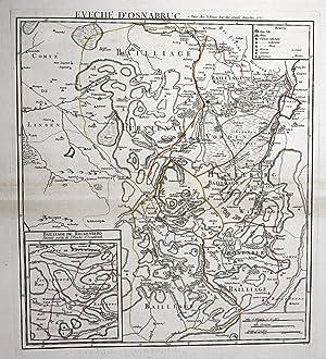 """""""Eveche d'Osnabruc"""" - Osnabrück Reckenberg Schlacht battle Karte map Kupferstich ..."""