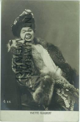 Porträtpostkarte. (ca. 14 x 9 cm).: Guilbert, Yvette:
