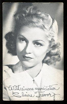 CLAIRE TREVOR-ARCADE CARD-1950 FR/G