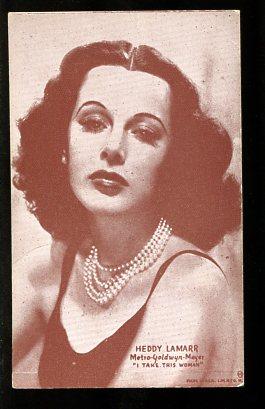 HEDDY LAMARR-ARCADE CARD-1950-SEPIA PHOTO FR/G