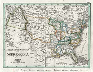 """Kupferstich- Karte, n. C.F. Weiland b. Geo. Inst. Weimar, """"America"""".: Usa / United States:"""