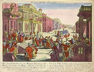 """Teilansicht, Straßenansicht mit dem Darstellung des ersten Pfingstfestes, """"Die Stadt Ierusalem,..."""