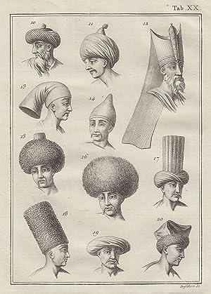Kopfbedeckungen ( 11 Köpfe, Männer ).: Ägypten ( Egypt ): Tracht: