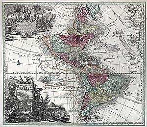 "Kst.- Karte, b. M. Seutter, ""Novus Orbis sive America Meridionalis et Septentrionalis ."".: ..."