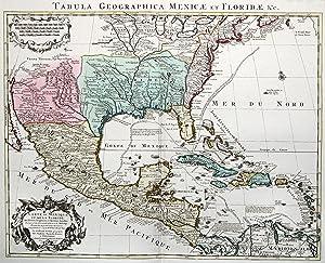 """Kupferstich- Karte, v. Stemmern n. G. de l'Isle b. Covens und Mortier, """"Carte du Mexique et..."""