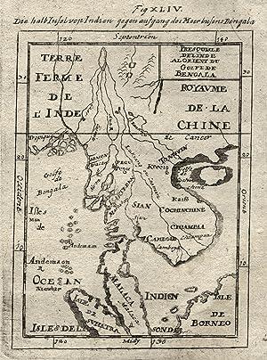 "Kst.- Karte, aus Mallet, ""Die halb Insel von Indien gegen aufgang des Meerbusens Bengala"".:..."