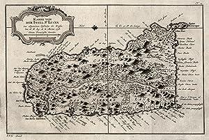 """Kst.- Karte, n. Bellin, """"Karte von der Insel St. Lucia"""".: Kleine Antillen ( Pequenas ..."""