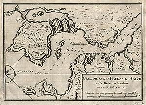 """Kupferstich- Karte, v. N. Bellin, """"Grundriß des Hafens La Haive an der Küste von Accadien""""...."""