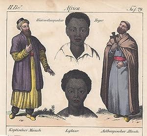 """Kopte, Libyer u. Äthiopier, """"Koptischer Mönch. Lybier. Aethiopischer Mönch. Westaethiopischer ..."""