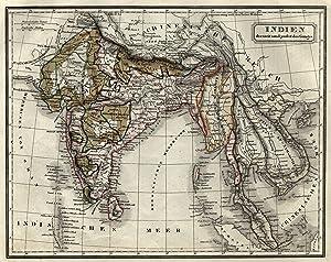 """Stahlstich- Karte, v. F. Biller, """"Indien diesseit und jenseit des Ganges"""".: Indien ( India ..."""