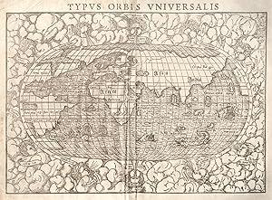 "Holzschnitt- Karte, v. David Kandel aus Seb. Münster, ""Typvs Orbis Vniversalis"".: Weltkarte..."