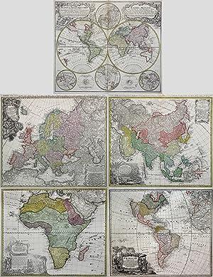 Kst.- Karten, 5 Blatt bei Homann Erben in Nürnberg.: Welt und Erdteile ( World and Continents ):