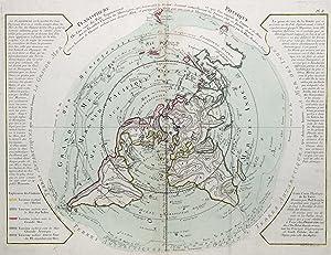 "Kupferstich- Karte, v. Desbruslins n. G. de I'Isle u. Ph. Buache b. Dezauche, ""Planisphere ..."