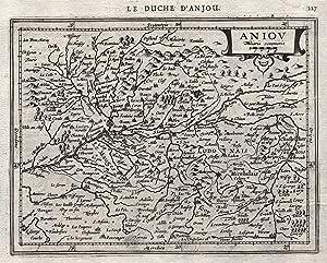 """Kst.- Karte, n. Mercator b. Janssonius, """"Aniov"""".: Anjou ( Dptm. Maine-Et-Loire ):"""