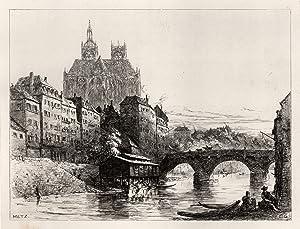 TA., Blick über die Mosel, rechts Moselbrücke, i. Hgr. der Dom.: Metz: