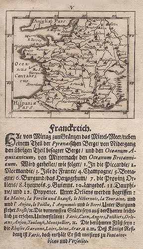 """Kst.- Karte, von Joh. Ulrich Müller in Ulm, """"Frankreich."""".: Frankreich ( France ):"""