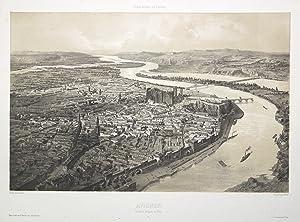 "GA aus halber Vogelschau, rechts die Rhone, ""Avignon. Vue prise de Quai au Bois"".: Avignon/..."