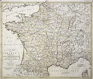 """Kupferstich- Karte, b. Laurie & Whittle, """"A new Map of France Divided into eighty three ..."""