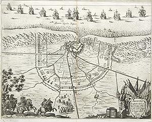 Befestigungsplan, mit Darstellung der Belagerung 1658.: Dünkirchen: