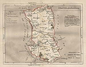 """Kst.- Karte, aus Breton, """"Département des Deux Sevres, ci-devant Partie du Poitou"""".: Deux ..."""