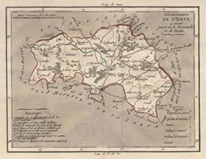 """Kupferstich- Karte, aus Breton, """"Département de L'Orne, ci-devant partie de la Normandie et..."""