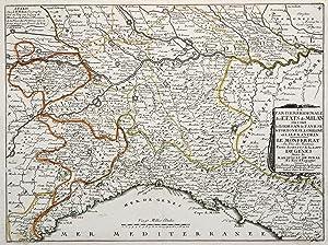 """Kst.- Karte, b. J.B. Nolin, """"La Partie meridionale des Etats de Milan ou sont le Lodes an le ..."""
