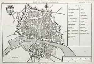 """Stadtplan, am linken Rand Erklärungen von A-G; I - XIII und 1 - 18, """"Plan de Pavie et de son ..."""