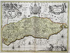 """Kupferstich- Karte, b. Valk und Schenk, """"Suthsexia vernacule Sussex."""".: Sussex:"""