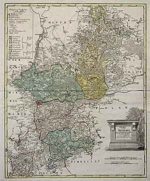 """Kupferstich- Karte, n. F.L. Güssefeld b. Weigel und Schneider, """"Charte von der Neumark neu ..."""