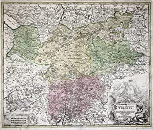 "Kupferstich- Karte, bei J.B. Homann, ""Comitatus Principalis Tirolis in quo Episc. Tridentin et ..."