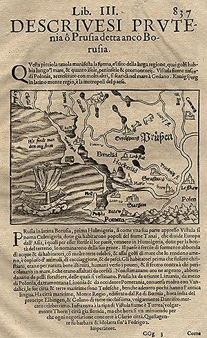 """Hschn.- Karte, n. Zell aus Seb. Münster ( ital. Ausgabe ), """"Prußen"""".: Ost- und Westpreussen:"""