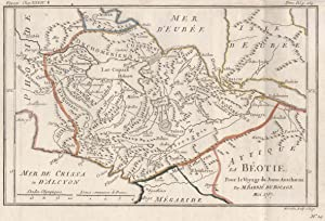 "Kupferstich- Karte, v. H. Godin, ""La Béotie, ."".: Griechenland ( Greece ): Böotien:"
