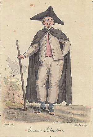 """homme Islandois"""", Mann in Tracht mit einem Stock.: Island ( Iceland ): Costume ( Tracht ):"""