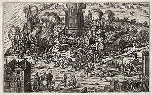 Ansicht mit Darstellung der Eroberung durch Truchneß (Deutz brennt 6.-11. 8. 1583).: Köln: Deutz: