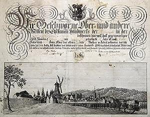 Gesamtansicht, ( ca. 13,5 x 38 ) auf einer Kundschaft der Zimmerleute f. d. Gesellen Chr. Woetze ...
