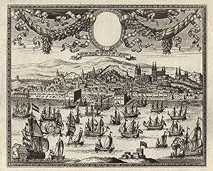 """Gesamtans., im Himmel Vorhangkartusche m. Medaillon, """"Lisabona.: Lissabon ( Lisboa"""