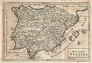 """Kst.- Karte, anonym, """"Das alte Spanien"""".: Iberische Halbinsel ( Espana/Spain + Portugal ):"""