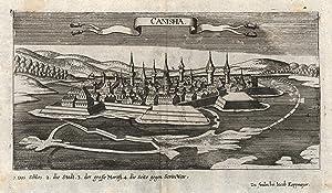 """Gesamtansicht, darunter Erklärungen von 1 - 4, """"Canisha"""".: Nagykaniza ( Kanizsa, Canischa, ..."""