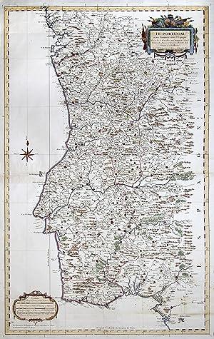 """Kupferstich- Karte, v. S. Bellin, """"Le Portugal et ses Frontieres avec L'Espagne ."""".: ..."""